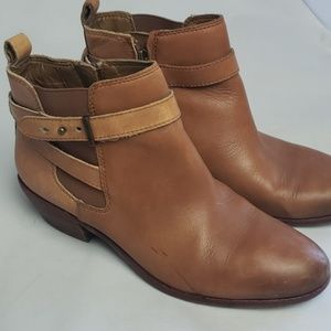 Sam Edelman PACIFIC tan leather ankle boots, sz 6W